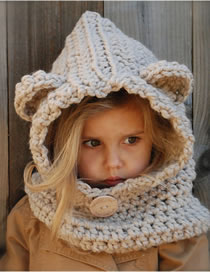 Lovely Beige Bear Ears Shape Design Pure Color Child Hat
