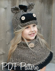 Lovely Gray Donkey Shape Design Pure Color Child Hat(2pcs)