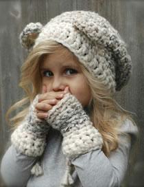 Lovely Light Gray Bear Shape Design Pure Color Child Hat(2pcs)