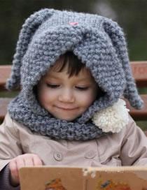 Lovely Blue Rabbit Ears Shape Design Pure Color Child Hat