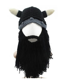Lovely Black Horns Shape Design Simple Knitted Hat