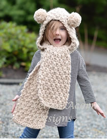 Lovely Beige Pure Color Design Bear Shape Child Hat