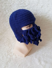 Lovely Navy Octopus Shape Design Pure Color Knitted Hat