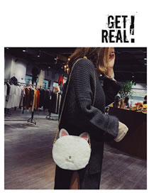 Fashion White Cartoon Cat Shape Design Shoulder Bag
