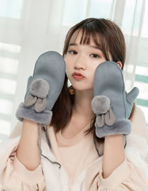 Fashion Gray+blue Rabbit Ears Decorated Thickening Gloves