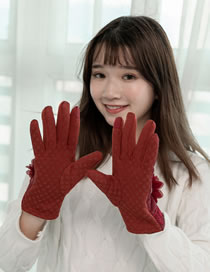 Fashion Red Flowers Decorated Touch-screen Gloves