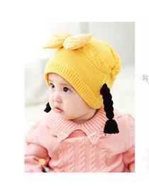 Fashion Yellow Bowknot Decorated Child Knitted Hat