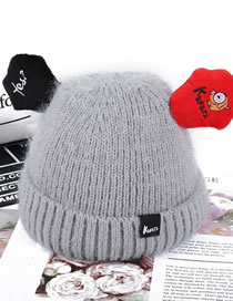 Fashion Gray Ears Shape Decorated Child Knitted Hat
