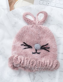 Fashion Purple+pink Cat Shape Design Pure Color Child Knitted Hat