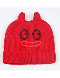 Fashion Red Cartoon Pattern Design Pure Color Child Hat