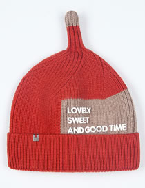 Fashion Brown+red Letter Pattern Design Baby Knitted Hat
