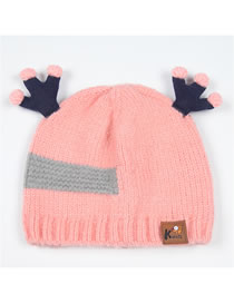 Fashion Pink Antlers Shape Decorated Child Knitted Hat