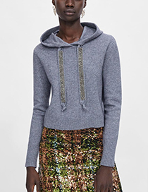 Fashion Gray Pure Color Decorated Drawstring Design Hoodie