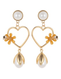 Fashion Gold Color Pearl&flowers Decorated Long Earrings