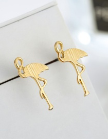 Fashion Gold Color Cartoon Flamingo Shape Design Earrings