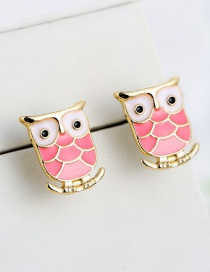 Fashion Pink Cartoon Owl Shape Design Earrings