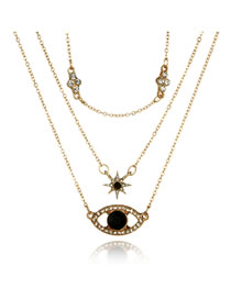 Fashion Gold Color Eye Shape Pendant Decorated Choker
