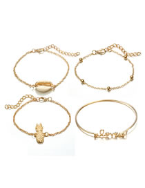 Fashion Gold Color Pineapple&shellfish Decorated Bracelet (4pcs)