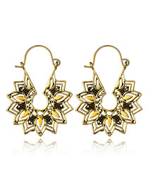 Fashion Gold Color Hollow Out Flower Decorated Earrings