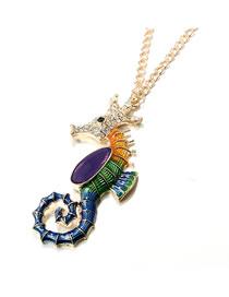 Fashion Gold Color Hippocampus Pendant Decorated Necklace