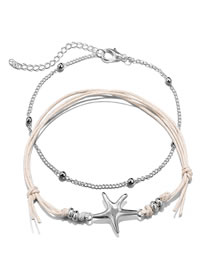 Fashion Silver Color+beige Starfish Decorated Simple Anklet&bracele(2pcs)