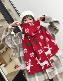 Fashion Claret Red Snowflakes&deer Pattern Decorated Scarf