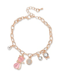 Fashion Pink+white Fox Pendant Decorated Bracelet