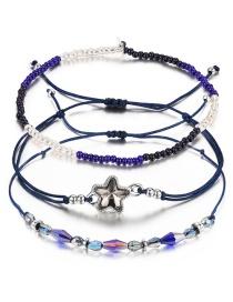 Fashion Sapphire Blue+black Flower&beads Decorated Bracelet((3pcs)