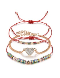 Fashion Red Heart Shape Decorated Bracelet((3pcs)