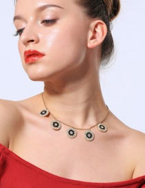 Fashion Black Round Shape Pendant Decorated Choker