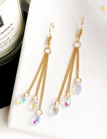 Fashion Gold Color Beads Decorated Long Earrings
