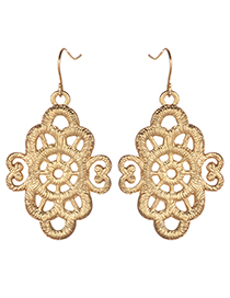 Fashion Gold Color Hollow Out Flowers Decorated Earrings