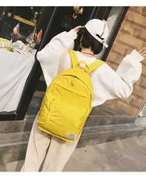 Elegant Yellow Label Decorated Pure Color Backpack
