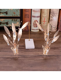Fashion Gold Color Butterfly Decorated Bridal Hair Accessories