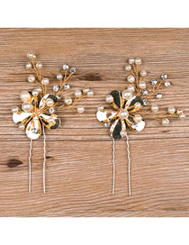 Fashion Gold Color Flowers&pearls Decorated Hair Accessories