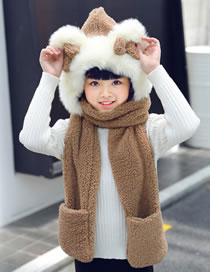 Lovely Brown Pure Color Decorated Scarf&hat
