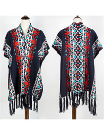 Fashion Navy Geometric Pattern Decorated Tassel Shawl