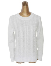 Elegant White Pure Color Design Long Sleeves Sweater
