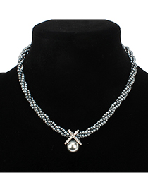 Fashion Gray Full Pearl Decorated Necklace