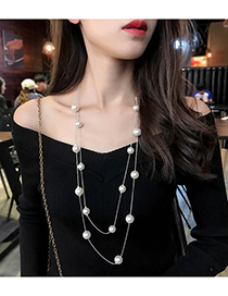 Fashion Silver Color Full Pearl Decorated Necklace