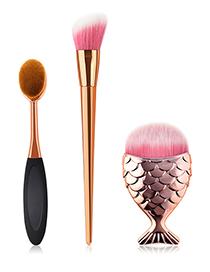 Fashion Gold Color+black Fish Shape Design Make Up Brush(3pcs)
