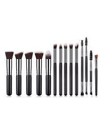 Fashion Black Flat Shape Decorated Make Up Brush(14pcs)