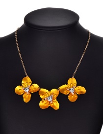 Fashion Gold Color Flower Shape Decorated Necklace
