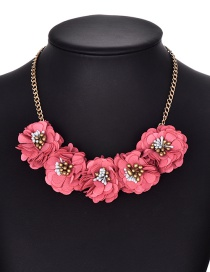 Fashion Red Flower Shape Decorated Necklace