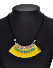 Fashion Yellow Tassel Decorated Necklace