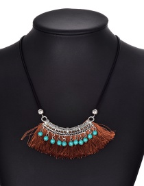 Fashion Brown Tassel Decorated Necklace