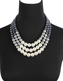 Fashion Blue+white Multi-layer Design Necklace