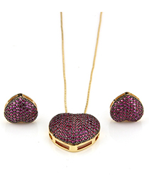 Fashion Plum Red Heart Shape Decorated Jewelry Set