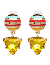 Fashion Yellow Triangle Shape Decorated Earrings