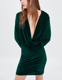 Fashion Green Pure Color Decorated V Neckline Dress